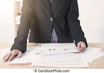 ビジネス, 仕事, グラフ, 議論, meeting., の間, 文書