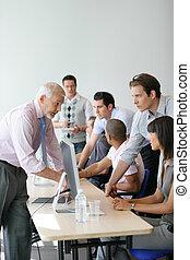 ビジネス, 仕事, コンピュータ, チーム, 活動的, ラウンド