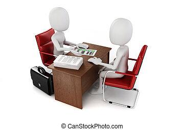 ビジネス, 仕事, ミーティング, インタビュー, 人, 3d