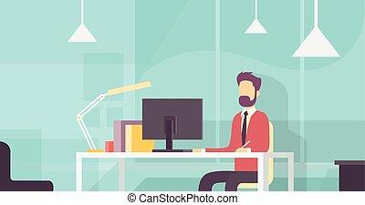 ビジネス, 仕事, モデル, デスクトップコンピュータ, 机, 人