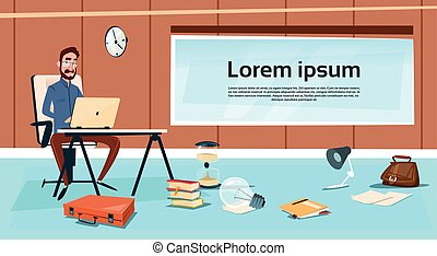 ビジネス, 仕事, モデル, ラップトップ, 机, コンピュータ, タイプ, ビジネスマン, 人
