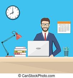 ビジネス, 仕事, モデル, ラップトップ, 机, 人