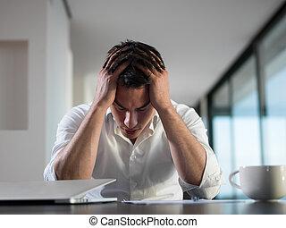 ビジネス, 仕事, ラップトップ, 若い, コンピュータ, 家, 失望させられた, 人