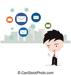 ビジネス, 仕事, 概念, インターネット, 隔離された, 送りなさい, 背景, ベクトル, イラスト, 社会, メール, 白, 人, ネットワーク