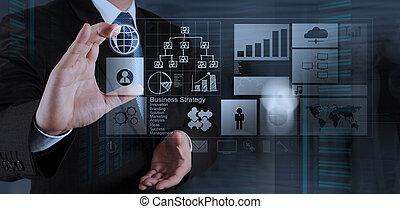 ビジネス, 仕事, 現代, 手, s, コンピュータ, ビジネスマン, 新しい