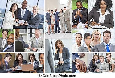 ビジネス, 仕事, &, 男性, interracial, チーム, 女性