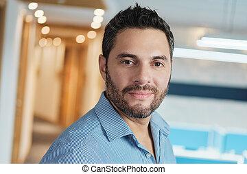 ビジネス, 仕事, 若い, マネージャー, 肖像画, 幸せに微笑する, 人