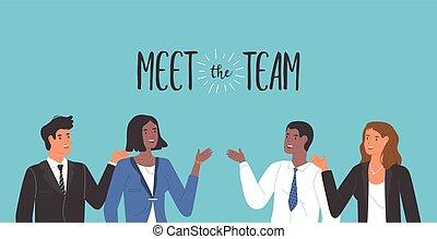 ビジネス, 会いなさい, 女性, チーム, 男性, 多様, 概念