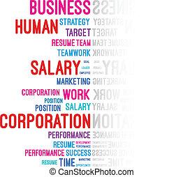 ビジネス, 会社, 単語, 雲