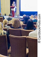ビジネス, 会議, そして, 人々, 概念, そして, ideas., 人々のグループ, 会議の 出席, そして, 聞くこと, へ, ∥, ホスト, スピーカー, 上に, stage., 背中, ビュー。