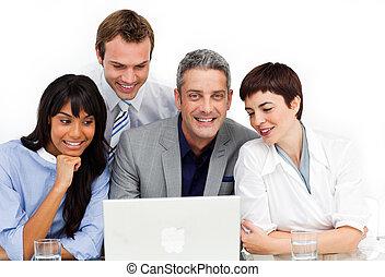 ビジネス, 使うこと, グループ, 多様, ラップトップ