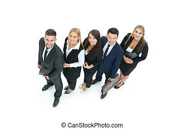 ビジネス, 信頼性が高い, の上, 見る, チーム, 専門家, 微笑