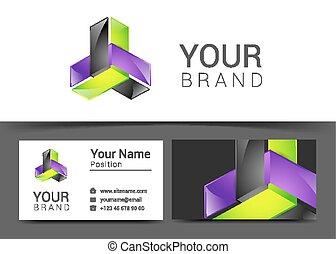 ビジネス, 創造的, デザイン, カード, テンプレート, ロゴ, 企業イメージの統一戦略