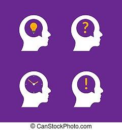 ビジネス, 創造的, 考え, 人々, 頭, 脳, イラスト, 質問, 人, アイコン, 心, profile., 人間