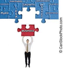 ビジネス, 単語, 上に, 困惑, 中に, 人, 手