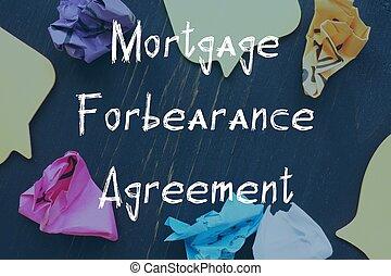 ビジネス, 合意, paper., 抵当, について, 碑文, forbearance, 概念, 小片