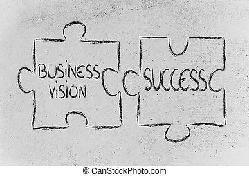 ビジネス, 困惑, ジグソーパズル, ビジョン, 成功, デザイン, &