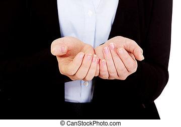 ビジネス, 女性, 何か, 手を持つ