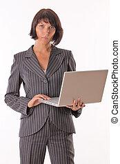 ビジネス 女, ∥で∥, ラップトップ