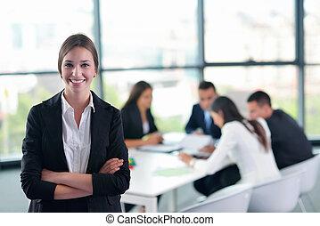 ビジネス 女, ∥で∥, 彼女, スタッフ, 中に, 背景, ∥において∥, オフィス