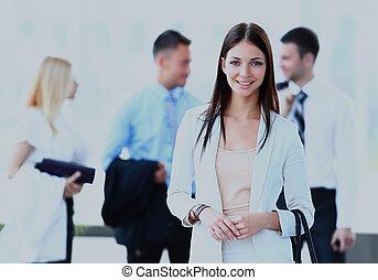 ビジネス 女, ∥で∥, 彼女, チーム, ∥において∥, ∥, オフィス。