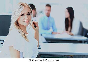 ビジネス 女, ∥で∥, 彼女, チーム, オフィスで