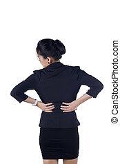 ビジネス 女, ∥で∥, 背中の痛み, 隔離された, 白い背景