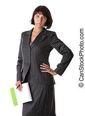 ビジネス 女, ∥で∥, a, メモ用紙, そして, ペン