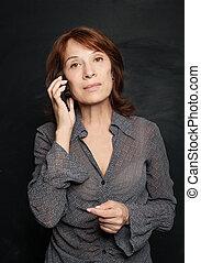 ビジネス 女, ∥で∥, smartphone., 成長した, ビジネス 女, 携帯電話
