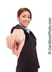 ビジネス 女, ポイント, 指, ∥において∥, あなた