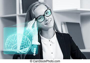 ビジネス 女, 仕事, ∥で∥, a, 未来派, glasses.