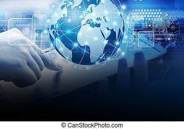 ビジネス 女, 使うこと, デジタルタブレット, ∥で∥, 世界的なネットワーク, 接続