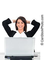 ビジネス 女, 平机に座った, の前, コンピュータ