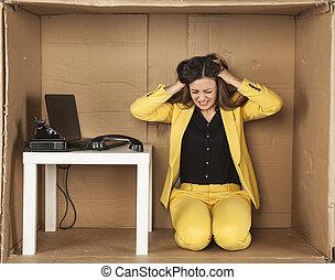 ビジネス 女, 引き, 彼女, 毛, ∥で∥, ストレス
