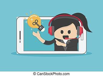 ビジネス 女, 成功した, 考え, 新しい, 電球, smartphone, スクリーン