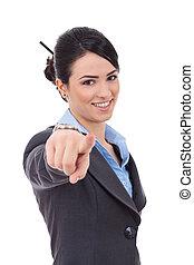 ビジネス 女, 指すこと, 彼女, 指
