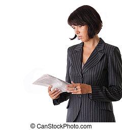 ビジネス 女, 新聞を読む