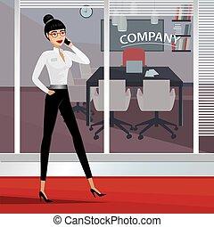 ビジネス 女, 歩くこと, のまわり, オフィス