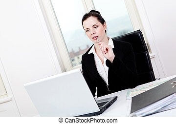 ビジネス 女, 若い, オフィス