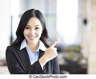 ビジネス 女, 若い, 指すこと, アジア人