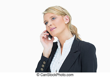 ビジネス 女, 話し続けている電話