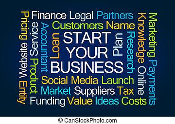 ビジネス, 始めなさい, 単語, あなたの, 雲