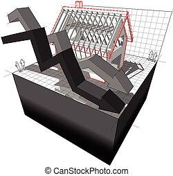 ビジネス, 家, 矢, 図, 建設, 下に, 落ちる