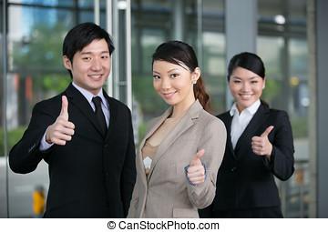 。, ビジネス, 寄付, 親指, チーム, 幸せ