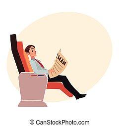ビジネス, 席, 新聞, ビジネスマン, 飛行機, 読書, クラス