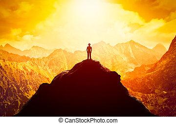 ビジネス, 帽子, 未来, 成功, 見通し, ピークに達しなさい, ベンチャー, mountain., usinessman