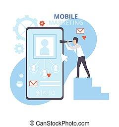 ビジネス, 広告, イラスト, 昇進, 平ら, personalizing, モビール, ソフトウェア, マーケティング, ベクトル, インターネット