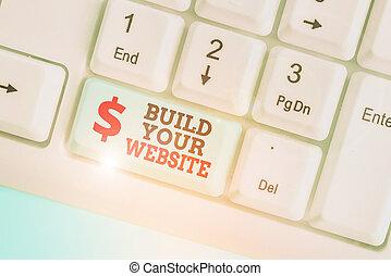 ビジネス, 建造しなさい, ecommerce, 提示, 手の執筆, の上, website., 市場, 概念, 写真...
