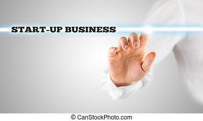 ビジネス, 強調, 始動, 指, 言葉