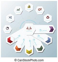 ビジネス, 形, infographic, デザイン, テンプレート, 幾何学的, 六角形